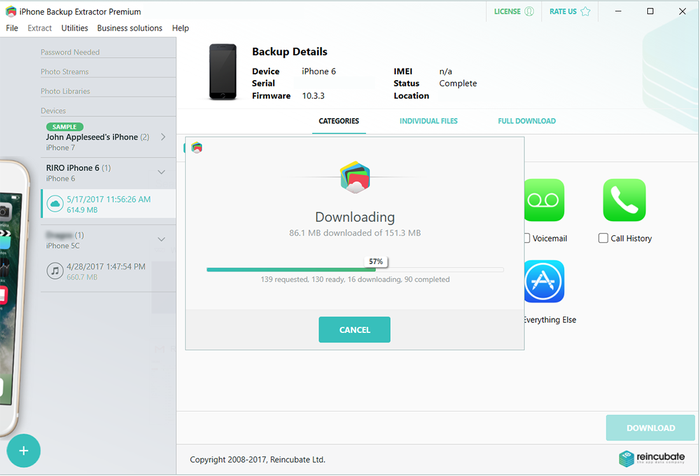 iPhone Backup Extractor завантажує дані iCloud